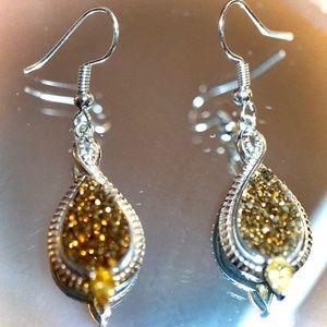 Golden Druzy & Citrine Sterling Silver Earrings